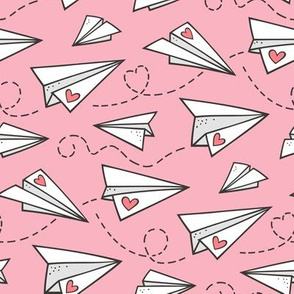 Paper Plane Love Hearts Valentine on Light Pink