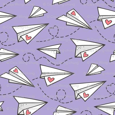 Paper Plane Love Hearts Valentine on Lavender Purple