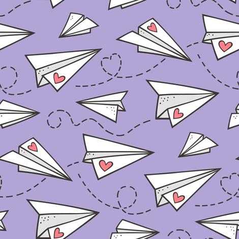 Paper Plane Love Hearts Valentine on Lavender Purple fabric by caja_design on Spoonflower - custom fabric