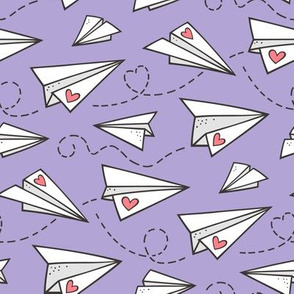 Paper Plane Love Hearts Valentine on Lavender Purple