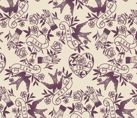 Love Hate fabric by nclbttn on Spoonflower - custom fabric