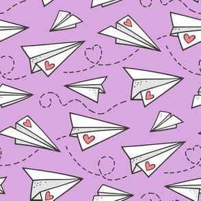 Paper Plane Love Hearts Valentine on Purple