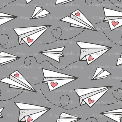 Paper Plane Love Hearts Valentine on Dark Grey