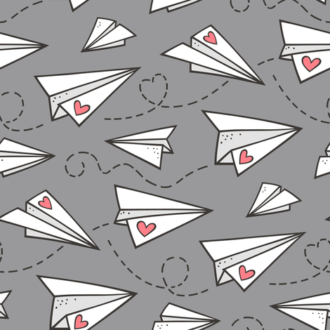 Paper Plane Love Hearts Valentine on Dark Grey fabric by caja_design on Spoonflower - custom fabric