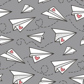 Paper Plane Love Hearts Valentine on Dark Grey