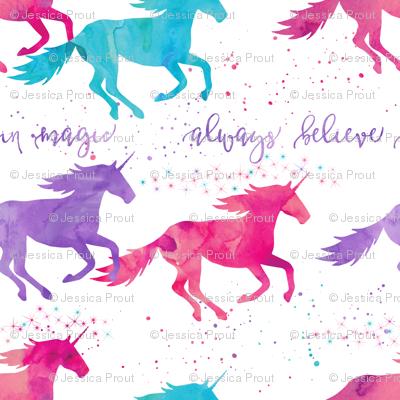 (small scale) watercolor unicorns - purple, pink, aqua - believe in magic