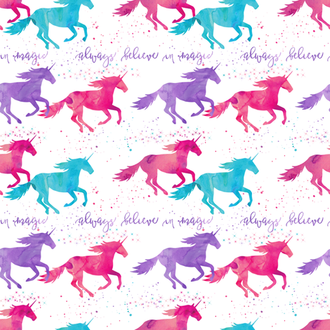 (small scale) watercolor unicorns - purple, pink, aqua - believe in magic fabric by littlearrowdesign on Spoonflower - custom fabric