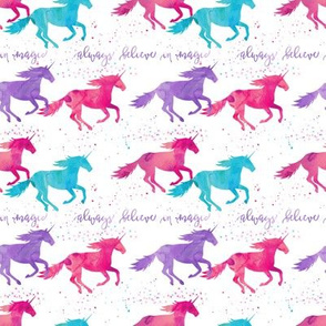 (small scale) watercolor unicorns - purple, pink, aqua - believe in magic