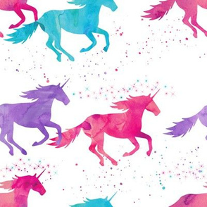 watercolor unicorns - purple, pink, aqua