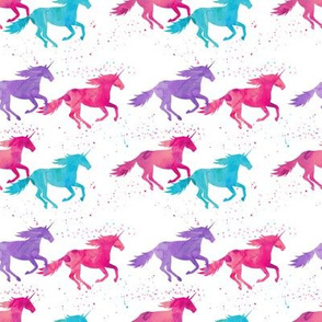 (small scale) watercolor unicorns - purple, pink, aqua