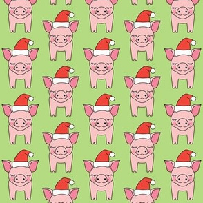 pigs and santa hats on green
