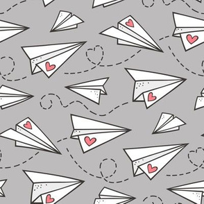 Paper Plane Love Hearts Valentine on Light Grey