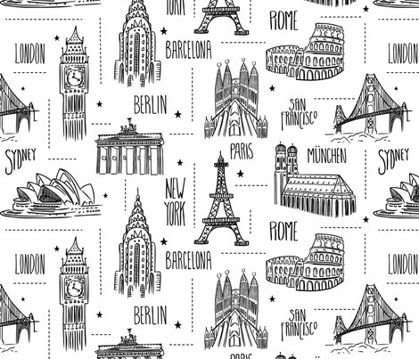 Globetrotter - Travel Map Coloring Book Style fabric by heatherdutton on Spoonflower - custom fabric