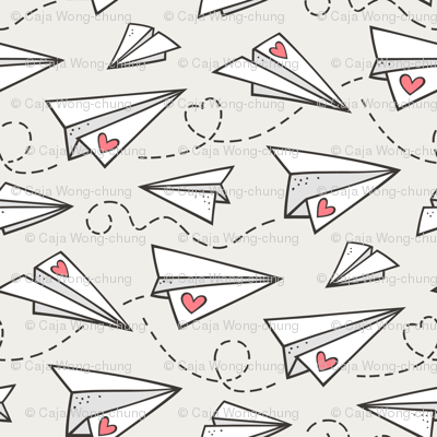 Paper Plane Love Hearts Valentine on Cloud Grey