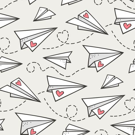 Paper Plane Love Hearts Valentine on Cloud Grey fabric by caja_design on Spoonflower - custom fabric