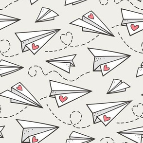 Paper Plane Love Hearts Valentine on Cloud Grey
