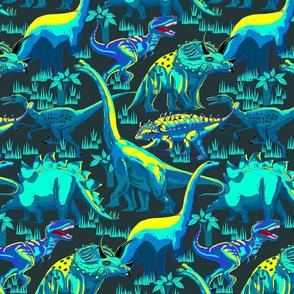 Dinosaurs Aqua on Dk bg