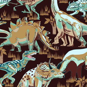 Dinosaurs Aqua_ browns_ beige on Dark Burguny