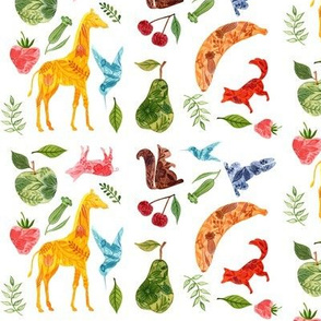 Animals and fruit