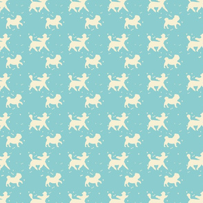 Doggie Walk - Mint Green & Yellow Pastel Doggies