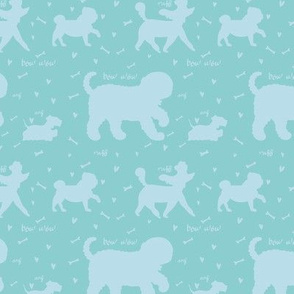 Doggie Walk - Mint Green & Sky Blue Silhouette Doggies