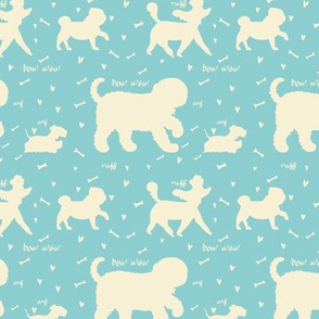 Doggie Walk - Mint Green & Pastel Yellow Silhouette Doggies