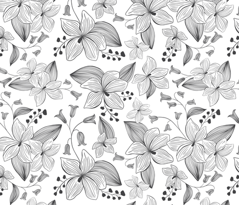 Avery Floral - Black & White Coloring Book Style fabric by heatherdutton on Spoonflower - custom fabric