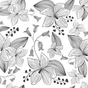 Avery Floral - Black & White Coloring Book Style
