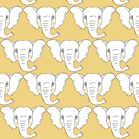 elephant-faces-on light-gold fabric by lilcubby on Spoonflower - custom fabric