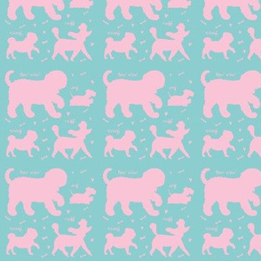 Doggie Walk - Mint Green & Pink Doggies