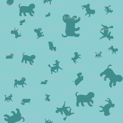 Doggie Walk  - Mint Green & Turquoise Silhouette Doggies