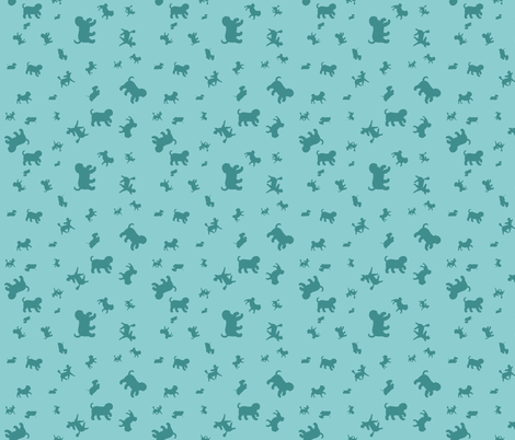 Doggie Walk  - Mint Green & Turquoise Silhouette Doggies fabric by anita-tran-illustration on Spoonflower - custom fabric