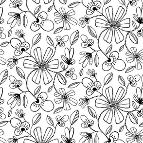Peyton Floral - Black & White Coloring Book Style