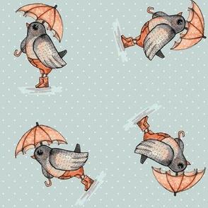 bird with ombrella