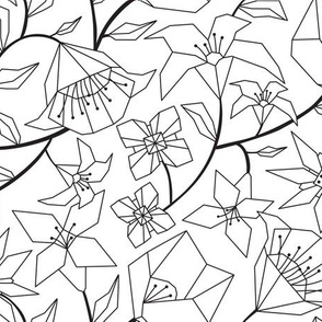 Calliope  Floral - Black  & White Coloring Book Style