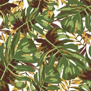 """36"""" Gold, Brown, and Green Tropical Leaves"""
