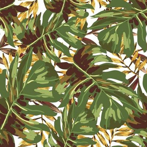 """8"""" Gold, Brown, and Green Tropical Leaves"""