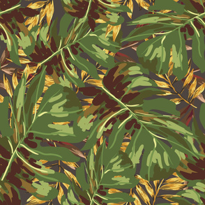 """36"""" Gold, Brown, and Green Tropical Leaves - Brown"""