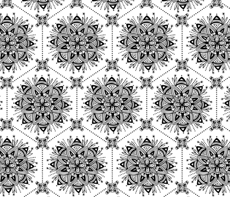 Wanderling - Boho Mandala Geometric Coloring Book Style fabric by heatherdutton on Spoonflower - custom fabric