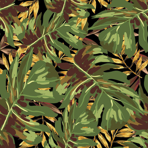 "36"" Gold, Brown, and Green Tropical Leaves - Black"