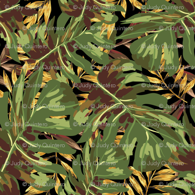 """8"""" Gold, Brown, and Green Tropical Leaves - Black"""