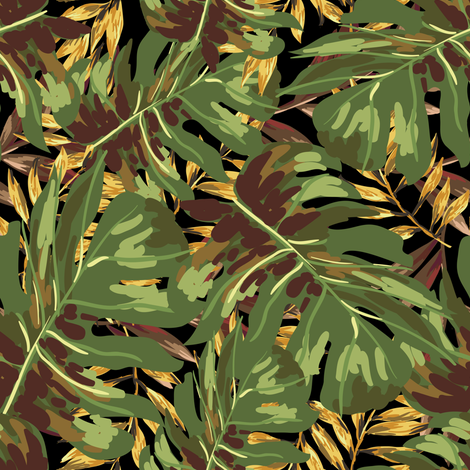 """8"""" Gold, Brown, and Green Tropical Leaves - Black fabric by shopcabin on Spoonflower - custom fabric"""