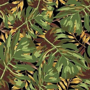 "8"" Gold, Brown, and Green Tropical Leaves - Black"