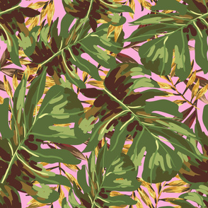 """36"""" Gold, Brown, and Green Tropical Leaves - Pink"""