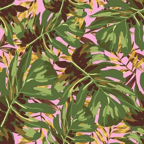 """8"""" Gold, Brown, and Green Tropical Leaves - Pink"""
