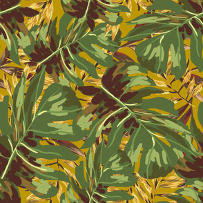 "36"" Gold, Brown, and Green Tropical Leaves - Mustard Yellow"