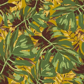 "8"" Gold, Brown, and Green Tropical Leaves - Mustard Yellow"
