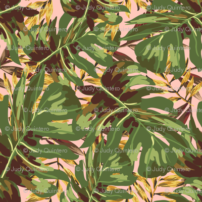 """36"""" Gold, Brown, and Green Tropical Leaves - Peach"""