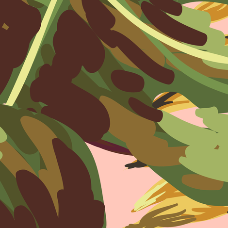 """36"""" Gold, Brown, and Green Tropical Leaves - Peach fabric by shopcabin on Spoonflower - custom fabric"""