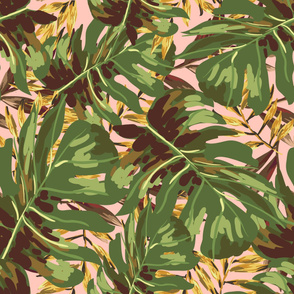 "36"" Gold, Brown, and Green Tropical Leaves - Peach"